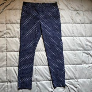 Skinny trousers-navy blue with polka dots